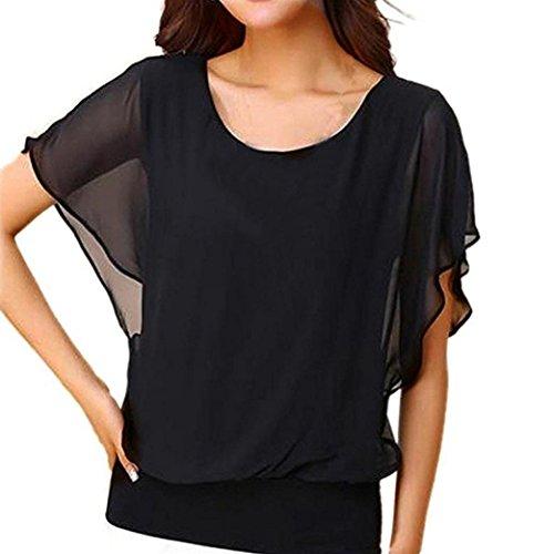 (iTLOTL Women's Loose Casual Short Sleeve Batwing Sleeve Chiffon Top T-Shirt Blouse(XXXXXL,Black))