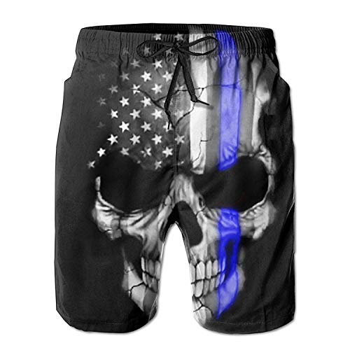 UNIQUE Pants American Thin Blue Line Flag Skull Men's Quick Dry Beach Board Shorts Summer Swim Trunks for Father's Day for Boy -