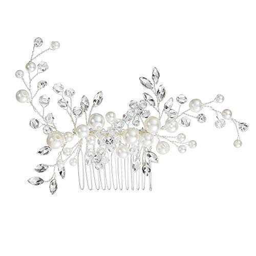 (Stylebar Women Bridal Hair Comb Handmade Bendable Clear Crystal Ivory Color Simulatd Pearl Leaf Vine Filigree Flower Wedding Hair Accessories for Bride)