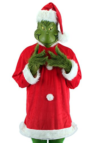 Grinch Characters Costumes (elope Men's Santa Grinch with Mask, Green,)
