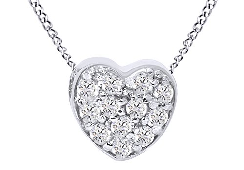 - Jewel Zone US Pave Natural Diamond Petite Heart Pendant Necklace in 14K Solid White Gold (1/4 Ct)