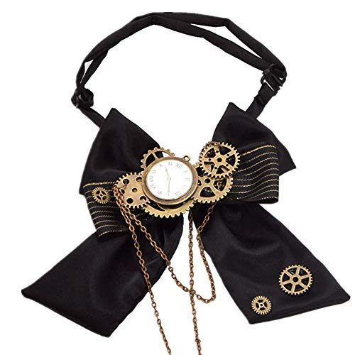 Steampunk Bow Neck tie Industrial Victorian Lolita Punk Gear Bowknot for Blouse Accessory -