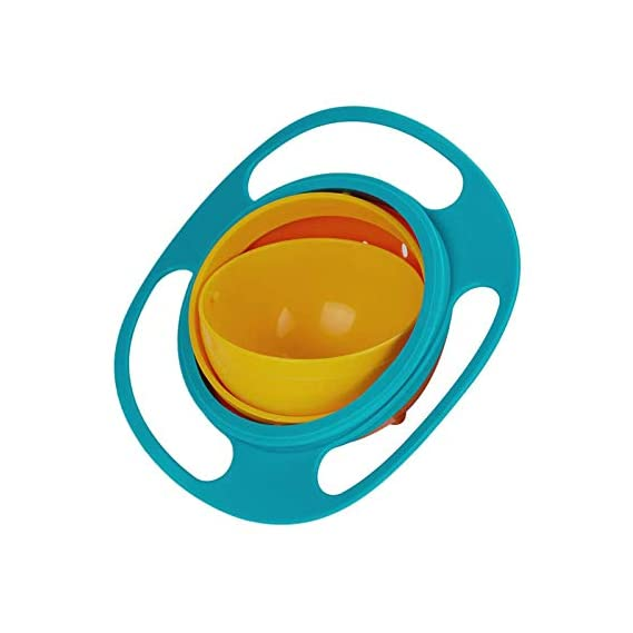 Safe-O-Kid 1 No Spill Gyro Bowl for Baby and Kids, 360 Degree Rotation Spill Proof Food Bowl, Orange and Green, Pack of