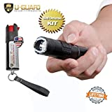 Taser Flashlight Combo Pepper Spray Keychain Self-Defense Weapons Kit – Police Mini Stun Gun Flashlight With OC Spray – High Volt Tazer Torch Personal Protection Defense for Women Or Men (BLACK)