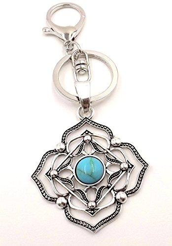 Boho Turquoise (Imt) Filigree Disc Keychain/ Purse/ Bag Charm - Pocketbook/Car Accessory-