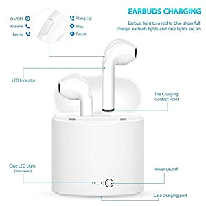 Pajuva Wireless Headphones, In-Ear Earpieces, Earphones, Bluetooth Earbuds - charging