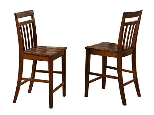 Back Chair Slat Oak (East West Furniture EWS-OAK-W Stool Set with Wood Seat, Dark Oak Finish, Set of 2)