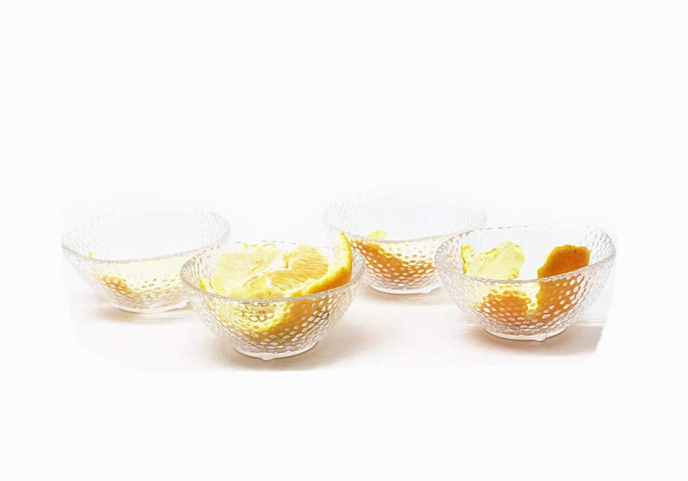Leoyoubei 3 Ounce 3.25x1.5'' Heat-resistant glass bowl for Ice Cream Dessert,Soy Sauce Dishes,Appetizer Spoons Stackable,Mini Side Dishes Ramekins - Transparent 4 Packs (point bowl)