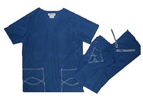 Natural Uniforms Women's Scrub Set Medical Scrub Top and Pants M Royal Blue/White Trim
