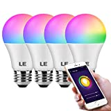 LE WiFi Smart Light Bulb Alexa, Smart Bulb Works with Google Home, APP Remote Control, RGBCW and CCT (2700-6500K Tunable White), Dimmable 9W 806lm A19 E26 LED Bulb, No Hub Required, Only Support 2.4G WiFi, 4 Packs