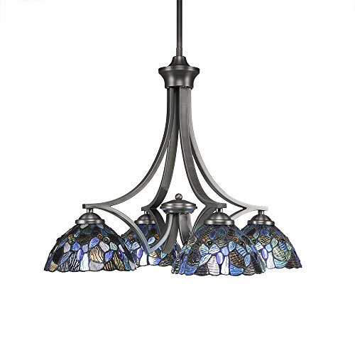 Toltec Lighting 568-GP-9955 Zilo 4 Light Chandelier with Blue Mosaic Glass 7