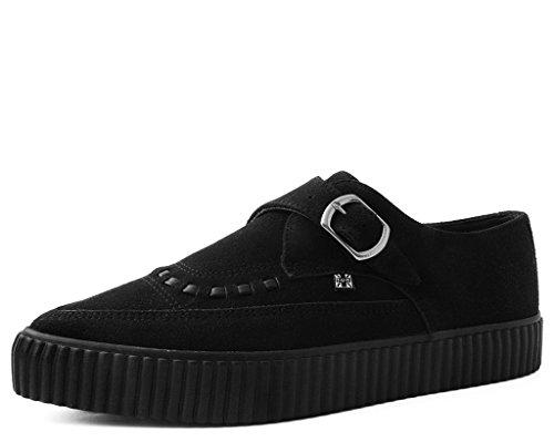 (T.U.K. Shoes A9280 Unisex-Adult Vegan Creepers, Black Faux Suede Pointed Buckle EZC - US: Mens 8 / Women 10)