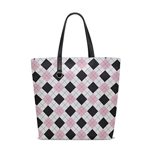 WJJSXKA Women Argyle Pattern Paper Swatch Handle Satchel Handbags Shoulder Bag Tote Purse Messenger Bags