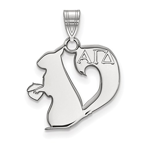 925 Sterling Silver Officially Licensed Alpha Gamma Delta Small Pendant (21.5 mm x 17 mm)