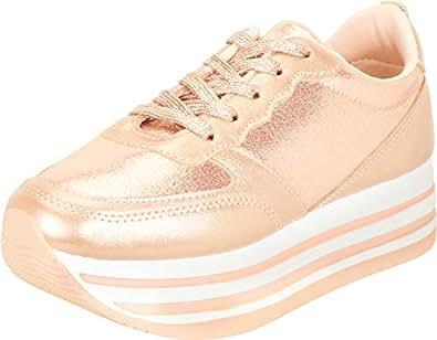 Cambridge Select Women's Retro 90s Lace-Up Stripe Chunky Platform Fashion Sneaker,6.5 B(M) US,Rose Gold PU