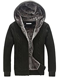 Men's Big&Tall Cardigan Zip-Up Sweater Hooded Jumper with Thermal Lining