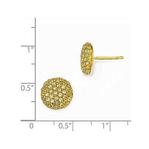 Cheryl M Sterling Silver Gold-plated Yellow CZ Post Earrings by Jewels By Lux (Image #1)