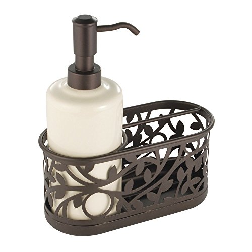 InterDesign Vine Soap Dispenser Pump and Sponge Caddy - Kitchen Sink Organizer, Vanilla/Bronze