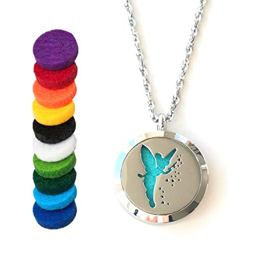 - FIKA Tinkerbell Air Freshener Diffuser Necklace Locket Aromatherapy Essential Oil Great for Travel Pads (Necklace)