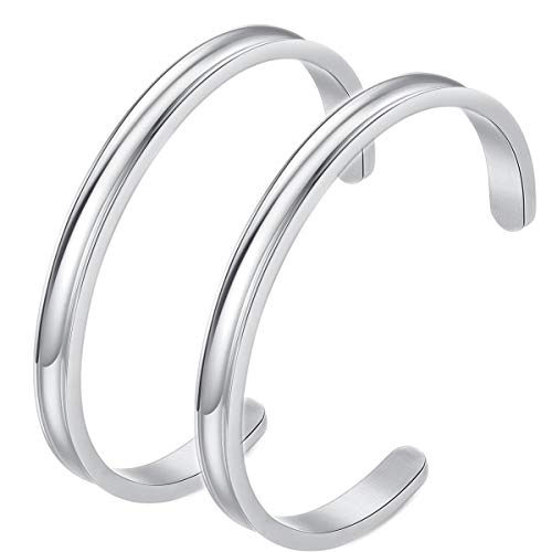 Hair Tie Bracelets - Stainless Steel Cuff Bangle Bracelet, High Polished Metallic Brushed Edges for Women Girls (2 Silver)