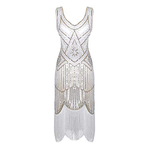 ACSUSS Women's Flapper Dresses 1920s V Neck Beaded Fringed Costume Great Dress White Medium