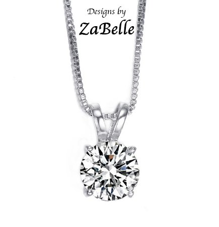 White Zirconia Pendant (White Gold Plated 2 ct Solitaire Hearts and Arrows CZ Pendant with Necklace)