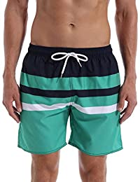 1ee6e9446 QRANSS Men's Stripe Swim Trunks Beach Swim Shorts