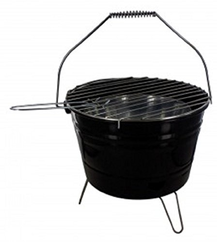 KnGLuv BBQ Bucket Compact Barbecue Charcoal Grill - Outdoor Patio Deck Camping Grilling Glamping ()