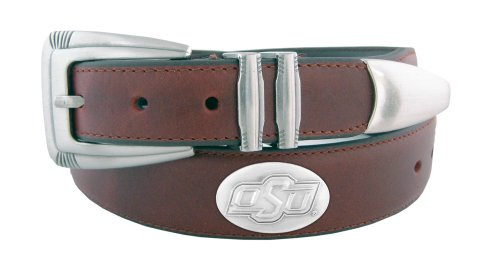 Oklahoma State Leather (NCAA Oklahoma State Cowboys Zep-Pro Leather Concho Tapered Tip Belt, Black, 38-Inch)