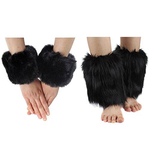 ECOSCO Faux Fur Wrist Cuffs Warmer Autumn Winter Cold Weather (20cm leg warmer+wrist cuff black)]()