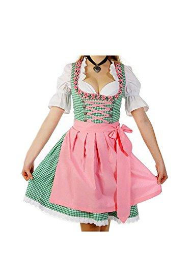 Mini-Dirndl Trachtenkleid Kleid Schürze und Bluse Damen Grün