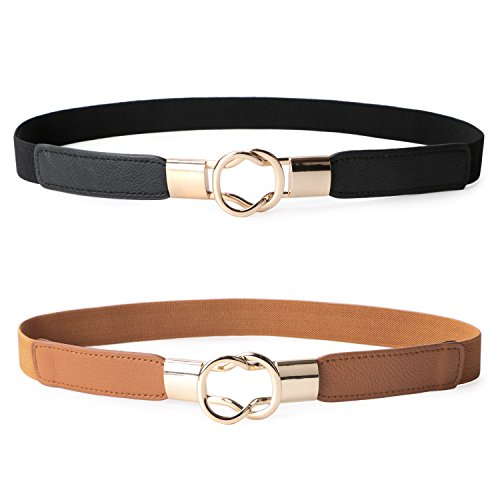 JASGOOD 2 Pack Women Retro Elastic Stretchy Metal Buckle Skinny Waist Belt 1 inch Wide,Black+Brown,FIts Waist 33-42 Inches