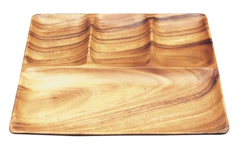 Pacific Merchants Acaciaware 11- by 11-Inch Acacia Wood Square 4-Part Divided Serving - Tray Serving Divided Part
