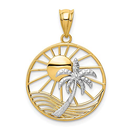 (14k Two-Tone Yellow Gold Shining Sun And Palm Tree In Round Penny Size Pendant 22x20mm)