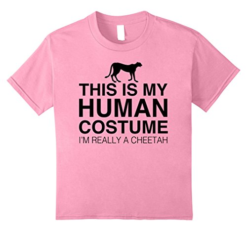 Kids This Is My Human Costume Im Really A Cheetah Halloween shirt 10 Pink - Halloween Costumes Cheetah