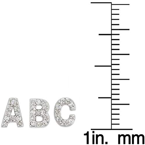 PAVOI 925 Sterling Silver CZ Simulated Diamond Stud Earrings Fashion Alphabet Letter Initial Earrings