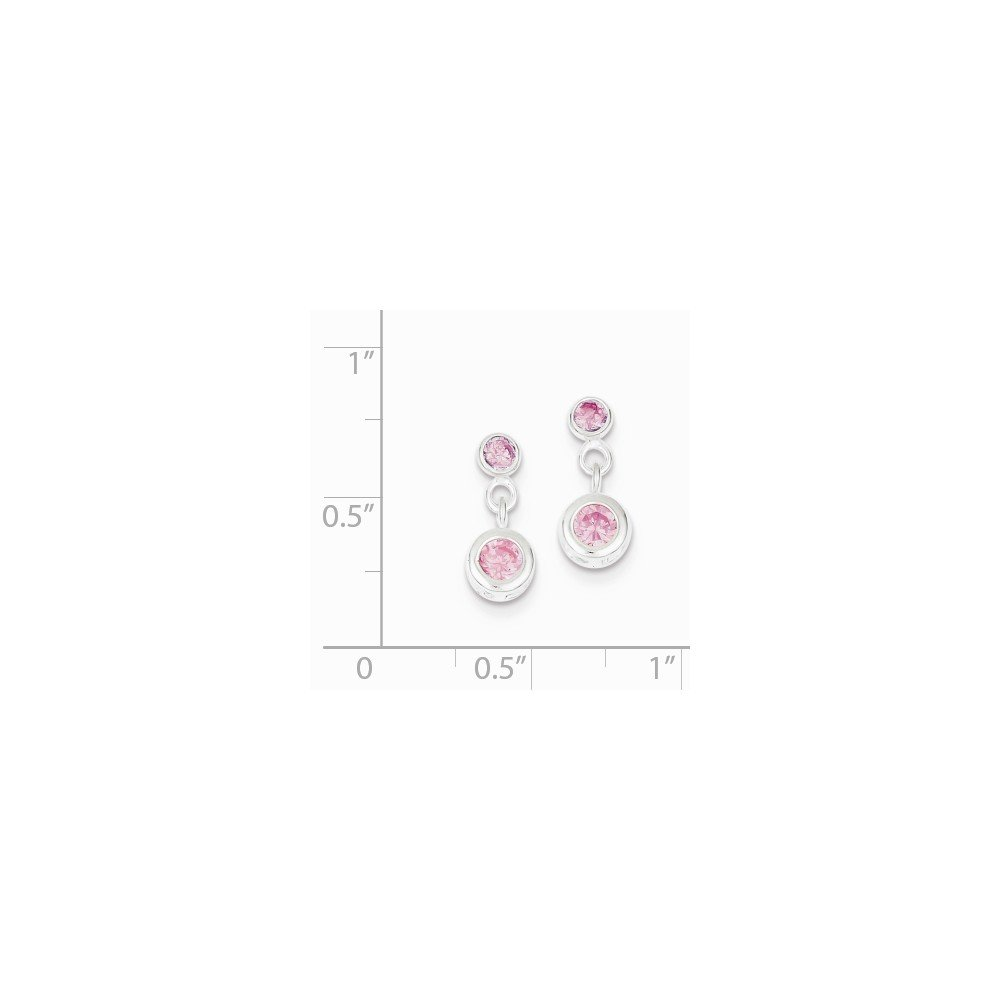 Solid .925 Sterling Silver Pink CZ Cubic Zirconia Dangle Post Earrings 12x6mm