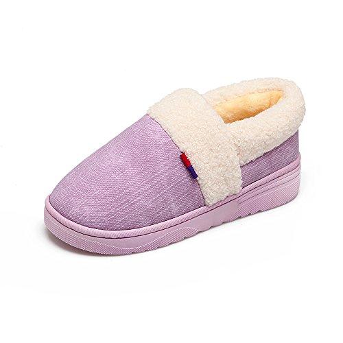 Y-hui Invierno Zapatillas De Interior De Algodón Con Una Decoración Cálida Y Llena De Amantes Decoración Del Hogar Gruesos Zapatos Zapatillas En Invierno, 44-45 (generalmente 43-44 Metros), Lavanda