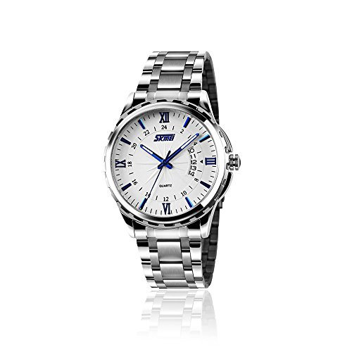 Men's Stainless Steel Quartz Dress Watch, Wrist Band Business Analog Watches Unique Waterproof Roman Numeral Casual Fashion Calendar Wristwatch - Silver - Mens Wrist Watch Calendar