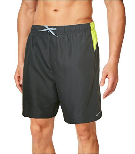 Mens Nike 9 Volley Trunks - Board shorts - Swim Trunks - Bathing Suit - Charcoal Grey with Yellow Back Waist Stripe. (Large)