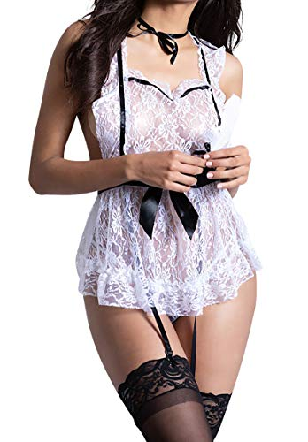 Dreamgirl Women's Sexy Tease French Maid Lingerie Costume Set, One Size