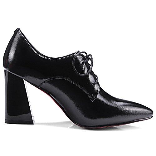 Cordones Mujer de Zapatos Tacón de Vestir negro Grueso para Nine Seven de Cuero Puntiagudos xHq764wp