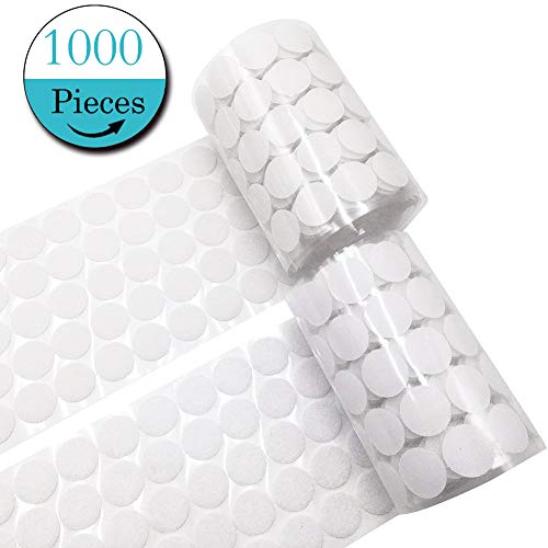 1000 Pieces Adhesive (500 Pair Sets) 0.79in Diameter Sticky Back Coins Hook & Loop Self Adhesive Dots Tapes Magic Sticky Dots 20mm White