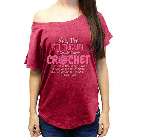 Yes I_m Bilingual Speak Fluent Crochet Tshirt Sewing Machine Wide Neck Women's Tri-Blend Dolman Tshirt
