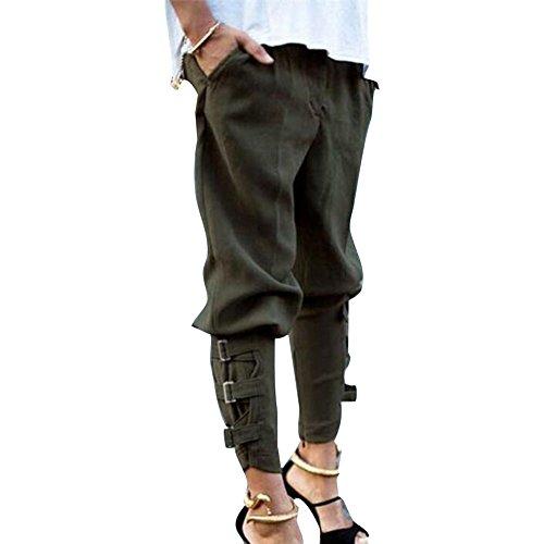 Yying Mujer Cintura Media Pantalones Harem Cómodo Cintura Elástico Pantalón con Bolsillos Moda Casual Pies Estrechos Leggings Pantalones Sueltos Tallas Grandes Verde
