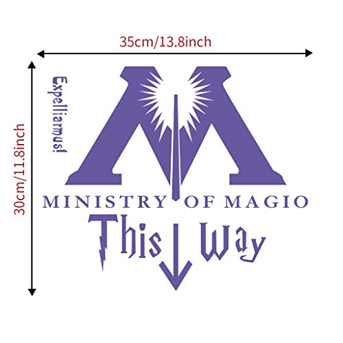 DIY Home Decorative Wall Sticker,Ministry of Magic of This Way Bathroom Stickers, Decals Mural for School House Girl Boy Teen Baby Room,Kitchen Bedroom Dinning Room Decarative Art Picture Painting