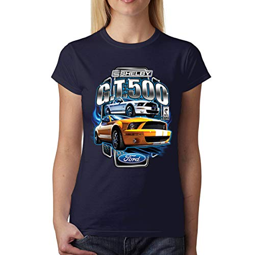 Ford Mustang Shelby GT500 Womens T-Shirt Navy Blue M