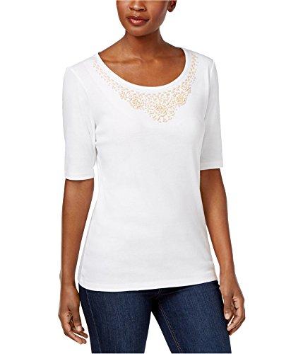 Karen Scott Womens Beaded-Neck Elbow Sleeves Casual Top White XL from Karen Scott