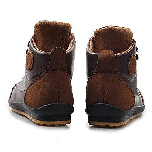 Gleader Hombres ocasional invierno del Alto-top zapatos de terciopelo calidas botas impermeables Zapatillas Marron oscuro( Tamano: 40 )