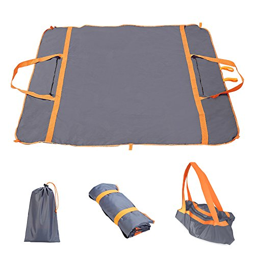 Heyjude Compact Pocket Outdoor Picnic Blanket Beach Mat Toy Mat Travel Bag Multifunction Waterproof Folding Storage Bag Waterproof (gray) by Heyjude
